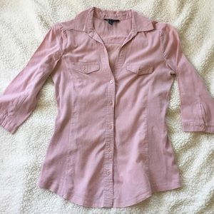 Blush 3/4 Sleeve Button Up